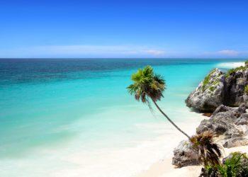 Plage de Tulum, ruines, eau turquoise, sable blanc, riviera maya, caraibes,Mexique