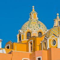 Cholula, Puebla, Cathédrale, jaune, alentours de Mexico, Mexique