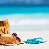 Icone prix directs, tongues, plages, chapeau, lunette, Page agence JPM Tours - Mexique